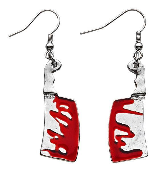 BLOODY CLEAVER EARRINGS Accessory Jewellery Halloween Fancy Dress